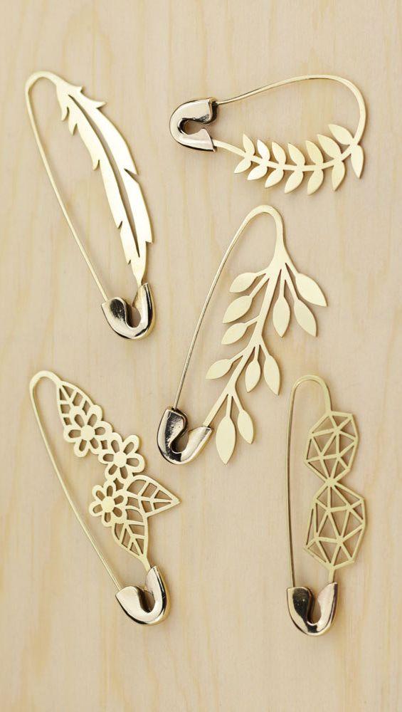 Marta Lugo Jewels, hand sawed brass safety pin brooch