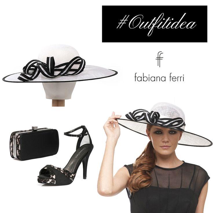 """#OutfitIdea... Se si indossa un semplice abitino nero, ricorda che puoi valorizzare il tuo #look con accessori #glam In questo caso consigliamo un elegante cappello a falda larga con motivo di fiocco, """"ankle strap"""" e #clutch in raso e pizzo nero"""