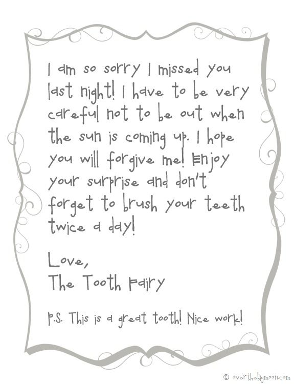 Forgettful tooth fairy free printable note | Over The Big Moon