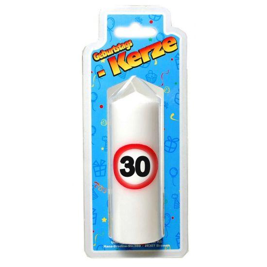 Verjaardagskaars 30 jaar verkeersbord. Kaars 30 jaar, formaat circa 12 x 4 cm.