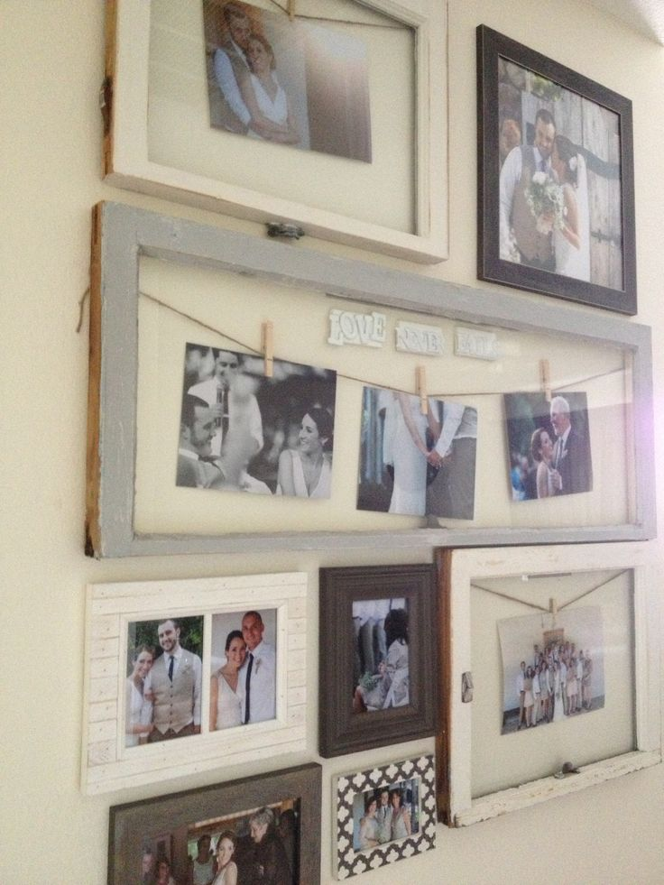 Vintage windows repurposed as picture frames for wedding photos. Easy DIY project. Grey and white home decor.