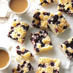 Blueberry Kuchen Recipe -In the summer, we can get beautiful, plump blueberries, which I use in this easy-to-make coffee cake. I like to freeze extra blueberries so I have them available any time I want this treat. —Anne Krueger, Richmond, British Columbia