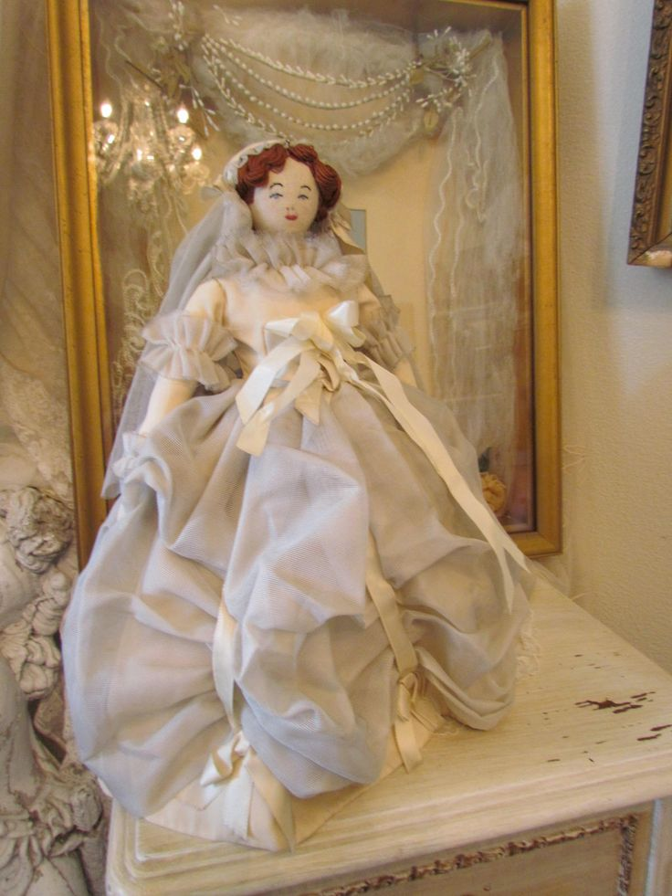 Vintage Homemade Bride Rag Doll With Ruched Balloon Skirt