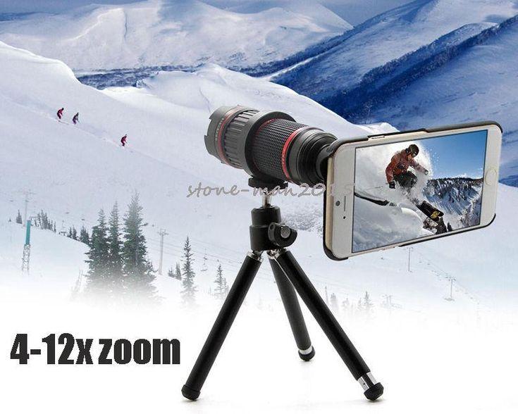 Professional DSLR 4-12X Zoom Telescope Photo Manual Focus Camera Lens Tripod For Samsung Galaxy S7/S7 Edge S5 NEO NOTE
