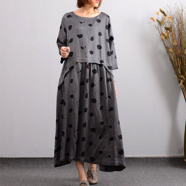 Outono Casual bordado de linho Vestido cinzento das mulheres