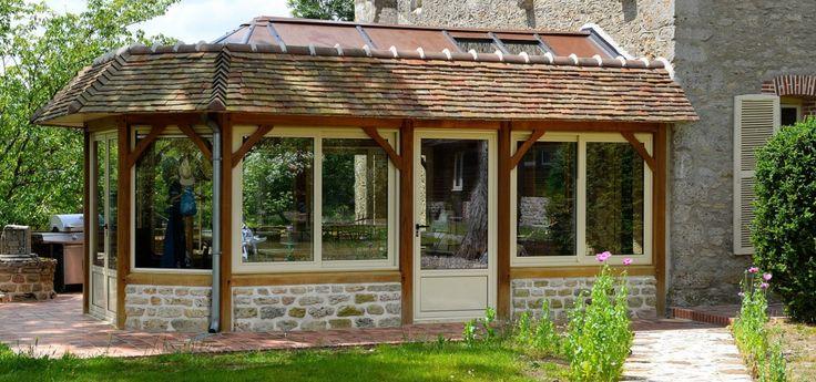 Veranda à Acrotères avec toit en tuiles ou ardoises | Veranda bois, Veranda, Toit