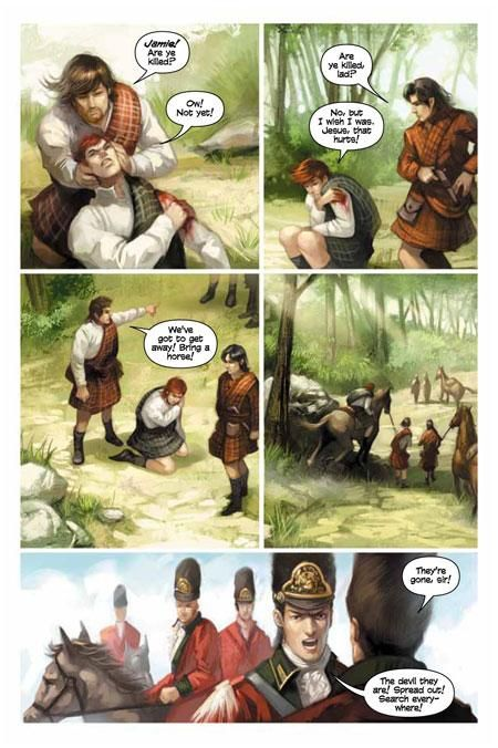 "From Diana Gabaldon's Graphic Novel, ""The Exile"", the first third of ""Outlander"" (1998). This graphic version follows Jamie's perspective. Art by Hoang Nguyen"