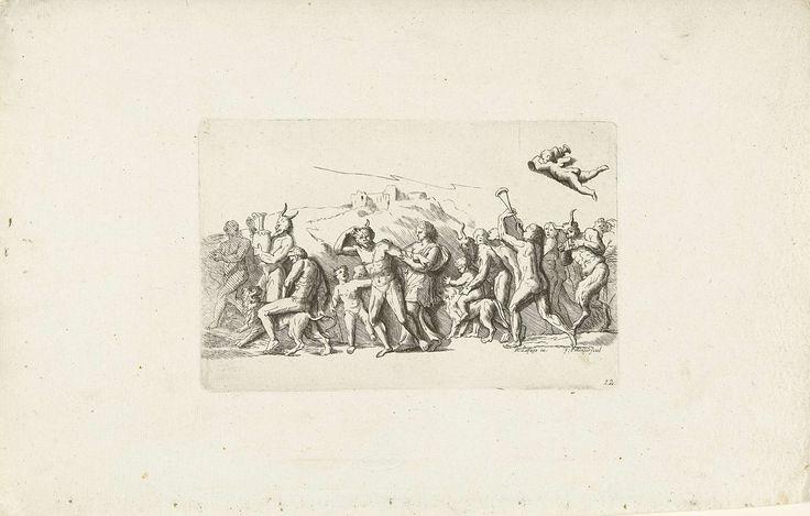 Franz Ertinger   Bacchanten stoet met leeuwen, Franz Ertinger, Raymond de Lafage, 1652 - 1707   Een optocht met mannen, vrouwen en satyrs. Een naakte man en een kind rijden op een leeuw, anderen musiceren. Boven de stoet vliegt een putto met een vaas.