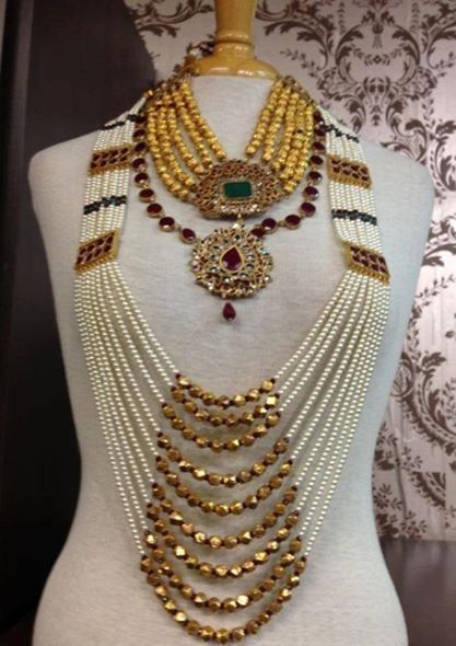 Indian Jewellery Pearl Red Green Rani Haar by KAJewelleryEmporium Deepika dks Pinboard trails ~*~