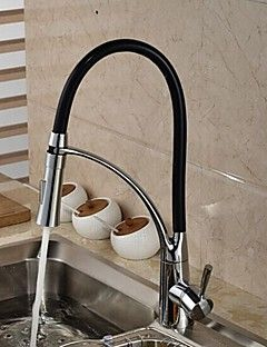 piattaforma ha montato solido ottone cromato maniglia singolo foro tirare giù rubinetto della cucina