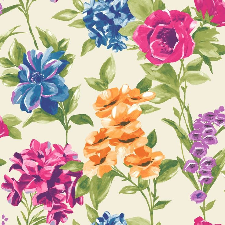 A bold, colourful floral wallpaper on a creamy background. From the Paradise collection, Petula 98361 by Holden. Available in NZ through Guthrie Bowron stores.
