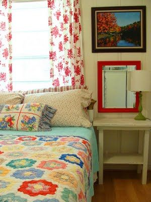 what a sweet quilt used as a coverlet - cute bedroom: Decor, Interior, Vintage Quilt, Color, Dream, Quilts, House, Cottage Bedrooms, Guest Rooms