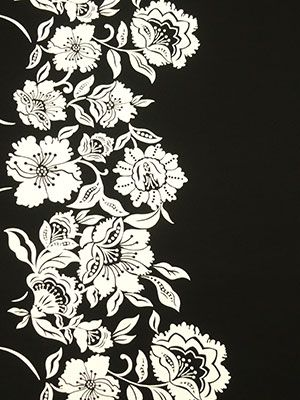 Off-White/Black Climbing Tropical Flowers ITY Knit - Maggy London - 60W - LOVE border prints!