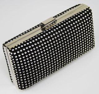 Black Sparkly Diamante Crystal Evening Clutch Bag