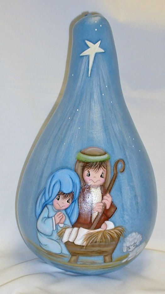 Kids Nativity Scene on Painted Gourd Hand by FromGramsHouse