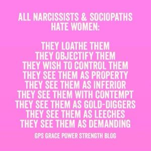 GPS-Grace Power Strength: Narcissistic Sociopath's Hate Women: 4 Ways They Show It