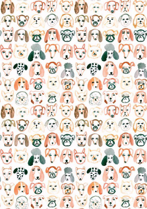 A4 Hond patroon Print van emilynelsonart op Etsy