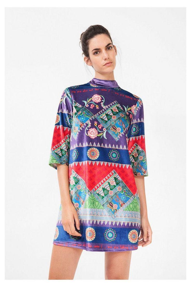 Paarse jurk van fluweel - Amberes | Desigual.com B