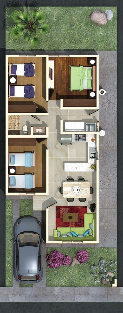 M s de 1000 ideas sobre plantas de apartamentos en - Planos de casas de una planta pequenas ...