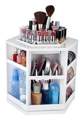 My daughter got me this spinning makeup organizer for my birthday.  I have it on my bathroom counter, and it keeps all my morning and nightly routine items at hand.  It's nice to not have to dig for things in a drawer!