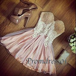 #promdress01 prom dresses - 2015 sweetheart neckline strapless pink chiffon lace short slim prom dress for teens, homecoming dress, occasion dress #prom2015 -> www.promdress01.c... #coniefox #2016prom