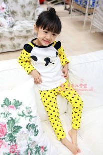 Children of the 2012 autumn and winter girls gold cashmere thermal underwear sets plus thick velvet backing to suit special home service - Taobao
