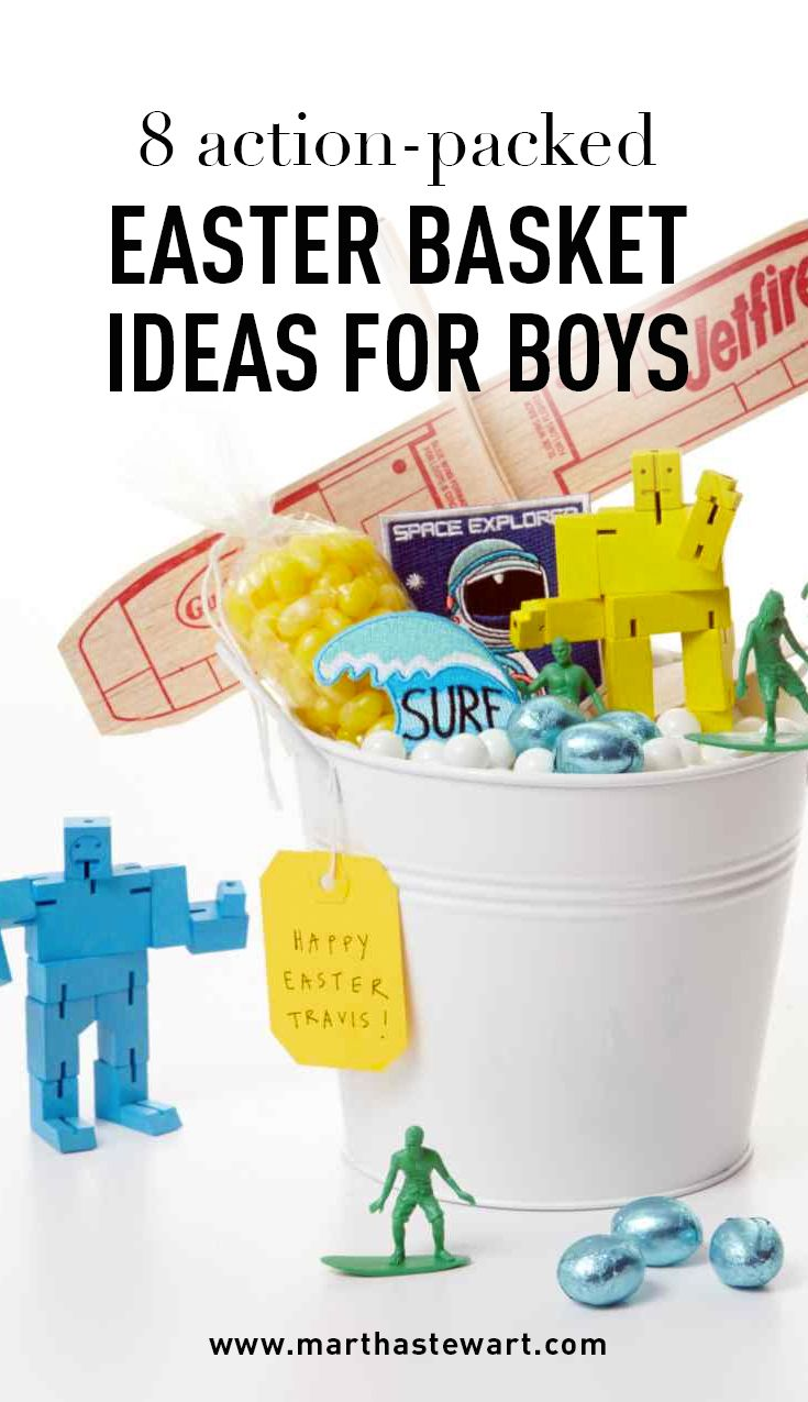 8 Action-Packed Easter Basket Ideas for Boys | Martha Stewart Living - Maybe your little guy isn't all that into florals and frills, and that's okay! For Easter, tap into his passions and hobbies to create a basket that's filled with toys and trinkets he will love.