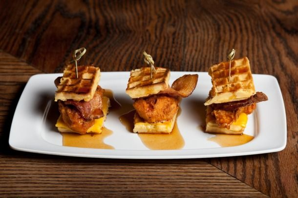 Pork Slope's chicken and waffle sliders with spicy maple syrup. Photo: Celeste Sloman