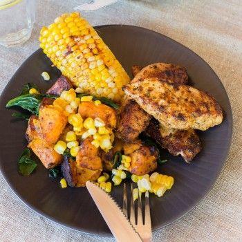 Lemon Cajun Spiced Chicken with Corn and Pumpkin Hash
