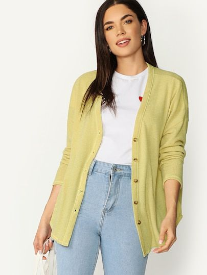 4c515102f Button Front V-Neck Lightweight Cardigan Sweater #fashion #trends #styles  #shein #sheinside #clothes #fashionista shein #sheinreviews #sheinshopping,  ...