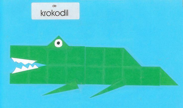 Vouwwerkje 16 vierkantjes krokodil