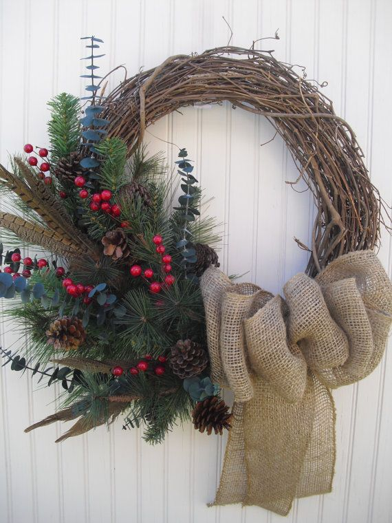 Christmas Wreath with Burlap Rustic and Natural with by ATPitman, $53.00