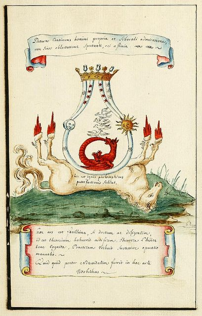"""Alchemy:  Watercolor showing """"the sublimation by the eagles after putrefaction"""" - from """"The Vessels of Hermes"""" (ca.1700), a mysterious alchemical manuscript from the Manly Palmer Hall collection.  An Alchemy artwork."""