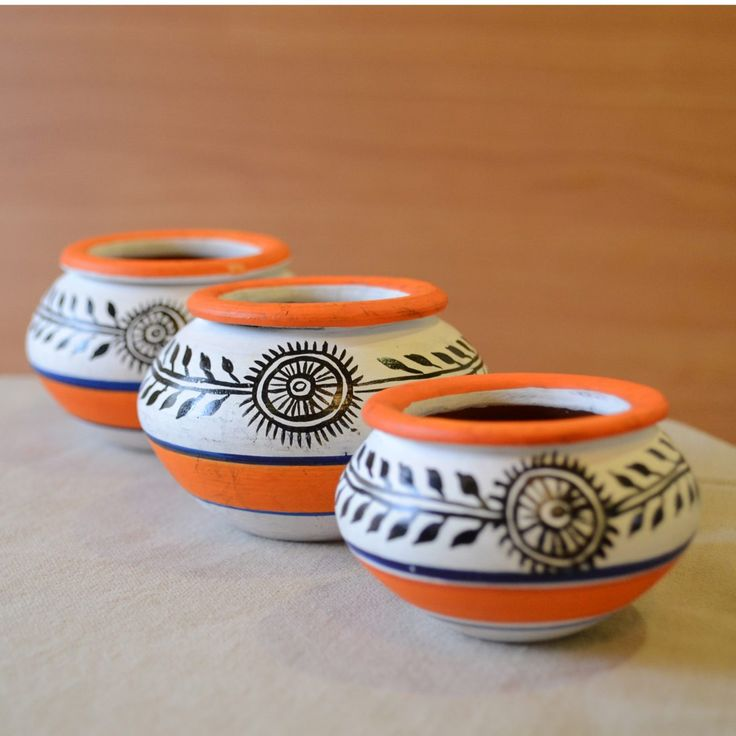 Terracotta Handpainted Madhubani Miniature Pots White