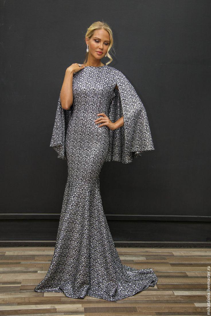Купить Платье-кейп - тёмно-синий, платье, Синее платье, золотое платье, Серебряное платье