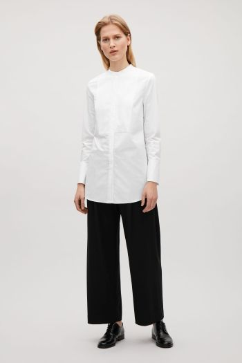 COS image 1 of Long collarless shirt in White