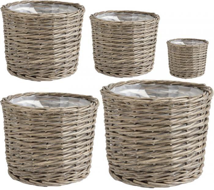 cache pot en osier gris doubl plastique jcp289sp. Black Bedroom Furniture Sets. Home Design Ideas