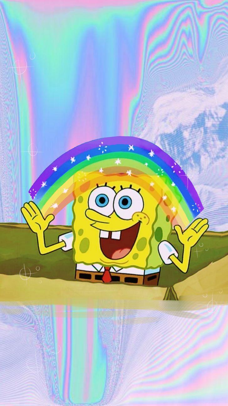 Картинка спанч боба и радуги