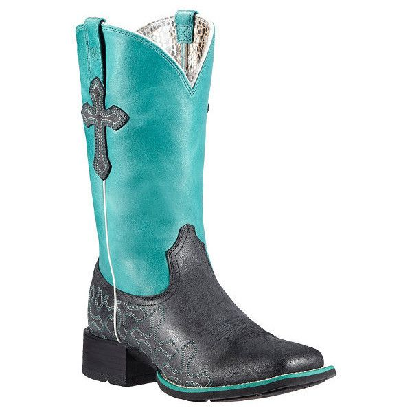Ariat Crossroads Neon Blue Cowgirl Boots Square Toe ($10) ❤ liked on Polyvore featuring shoes, boots, mid-calf boots, western cowgirl boots, square toe boots, cross cowgirl boots, blue boots and blue western boots