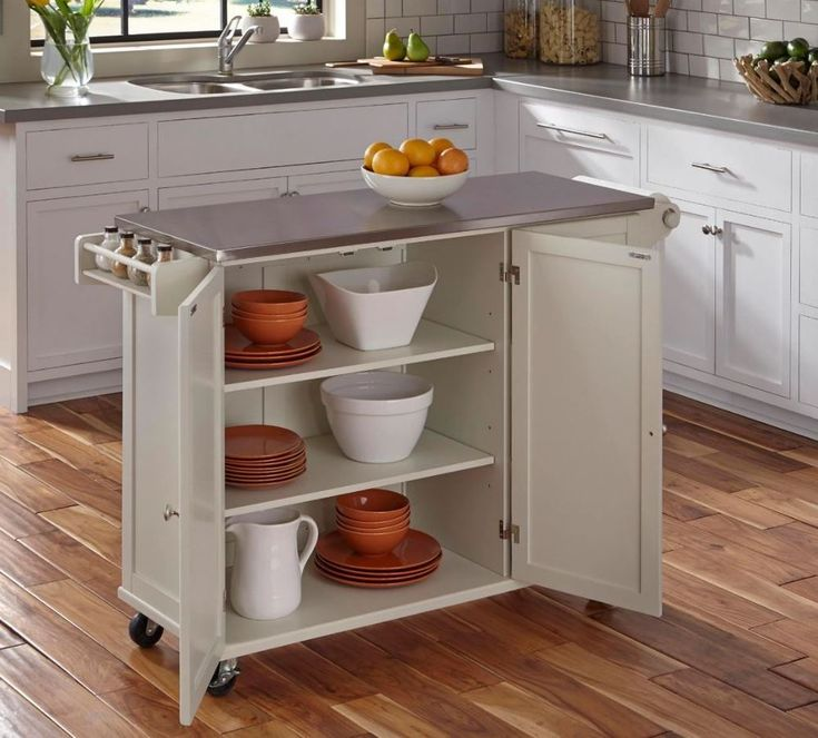Small Kitchen Cart On Wheels Islands And Carts Cabinet Rolling Stainless  Steel #Generic | What To Buy | Pinterest | Stainless Steel Kitchen Cart, ...