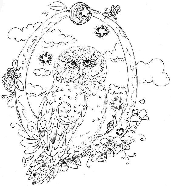free printable coloring sheet of realistic owl