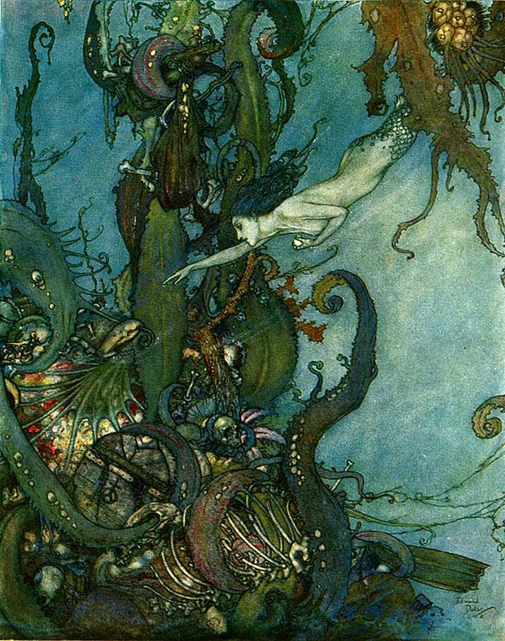 """Edmund Dulac - """"At the mere sight of the bright liquid ... they drew back in terror."""" Ilustration from """"The Mermaid"""" 1911 Edition of """"Stories from Hans Andersen"""""""