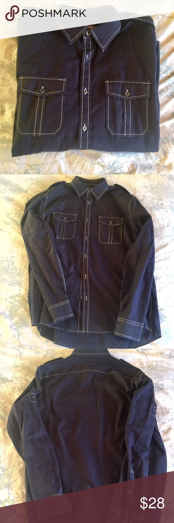 Michael Kors shirt size large. Dark blue Great shirt - Michael Kors size large.  Dark blue with details in white.  See photos.  Buttons on sleeves so you can roll the sleeves up for a more casual look.  Like new condition.  55% linen and 45% cotton - nice and light, natural comfort.  👍🏻👍🏻 MICHAEL Michael Kors Shirts Casual Button Down Shirts
