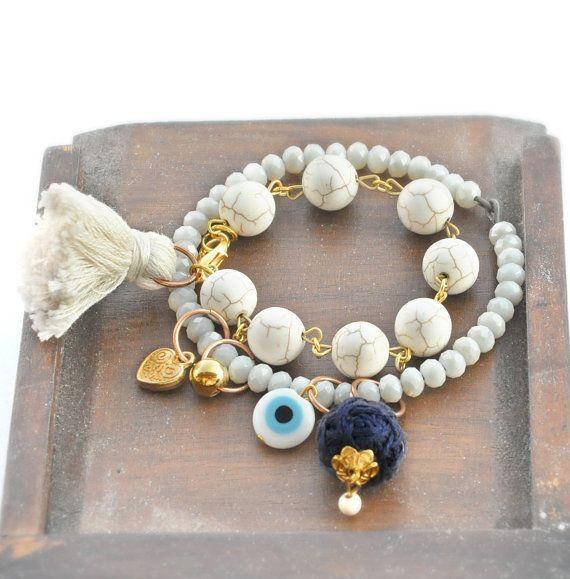 Devil Eye Beaded Bracelet  Bohemian Charm by stellacreations