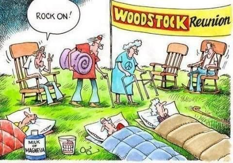 : Woodstock Reunions, Rocks On, Jokes, Rockers, Flowers Children, Chairs, Comic Books, Funny Stuff, Woodstockreunion