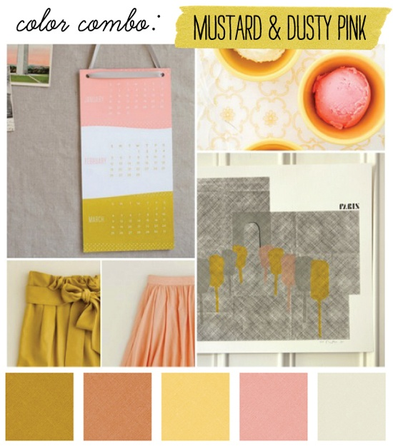 color combo: mustard + pink.: Colour, Colors Combos, Color Combos, Dusty Pink, Colors Palettes, Colors Schemes, Girls Rooms, Mustard Yellow, Colors Inspiration