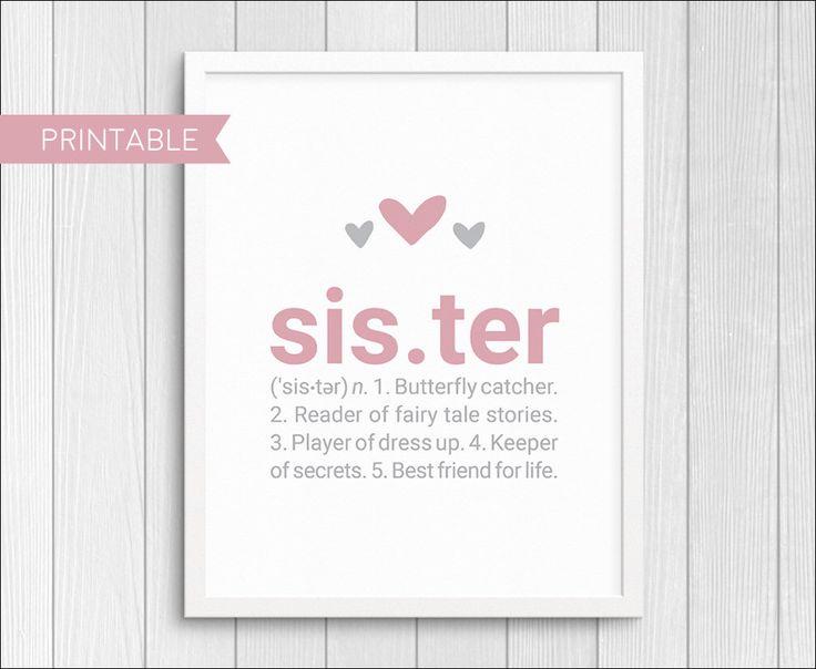 Sister Definition   Baby Shower Gift   Nursery Wall Art   Custom Wall Decor    Pink