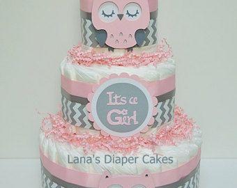 Blue And Brown Owl Diaper Cake Baby Shower von LanasDiaperCakeShop