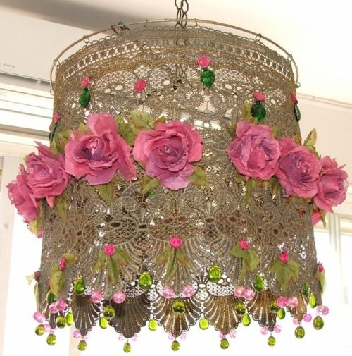 Lace, flowers, and beads lamp shade. a bit too much now but I am sure it can be toned down a bit if you want