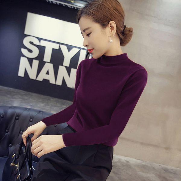 Корейская версия 2016 новый половина-продукты высокой шеи тонкий Fit с длинным рукавом вязаный женский рукав головы тонкий тощий сплошной цвет воротник дна рубашки